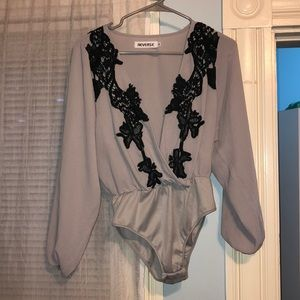 Reverse Tops - Reverse Gray and Black Lace Bodysuit Size Medium
